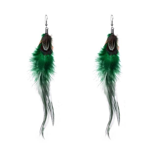 Dark Color Long Peacock Feathers Earrings