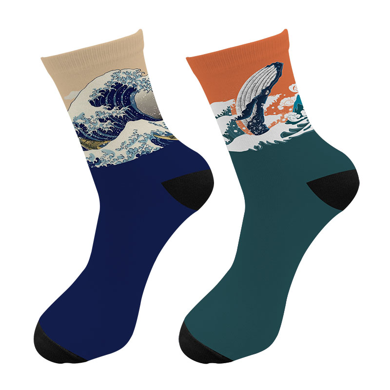 New 3D Printed Harajuku Japanese Ukiyoe Wave Crew Socks Men Japanese Spray Whale Long Socks Paint Wave Men's Dress Tube Socks