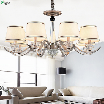 Modern Nickel Led Chandeliers Lighting Living Room Fabric Led Pendant Chandelier Lights Hanging Lamp Fixtures For Dining Room