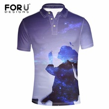 FORUDESIGNS Brand Clothing 3D Galaxy Space Girl Printed Polo Shirt for Man Summer Short Sleeve Polo Man Comfortable Casual Shirt