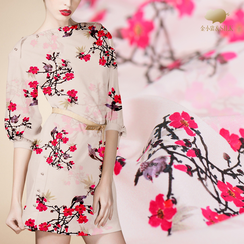 25mm heavy silk fabric stretch satin silk fabric high end cheongsam digital printing silk satin fabric