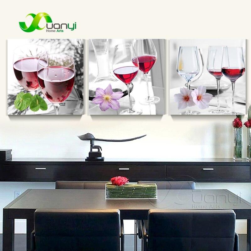 €3.69 53% de réduction Triptyque toile Art vin rouge peinture nature morte  maison Decoractive mur rouge vin peinture cuisine moderne huile photos sans  ...