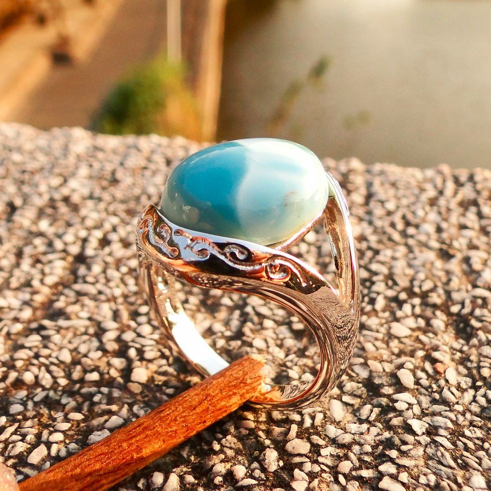 Genunie Natural Blue Larimar 12 7mm 15 7mm Solid 925 Sterling Silver Women Ring for Lover