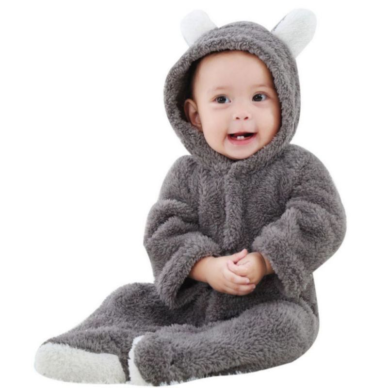 Jumpsuit Clothing-Set Newborn Baby-Girl Rompers Bear-Ear Warm Cute 3D