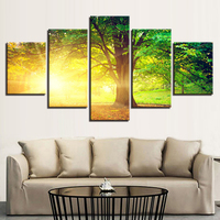 Canvas HD Prints Pictures For Living Room Wall Art 5 Pieces Sunlight Trees Paintings Home Decor Summer Scenery Poster Framework