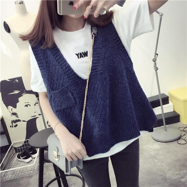De Dove2016 spring new Korean loose sweater vest sweater vest vest College Wind Jacket Women's