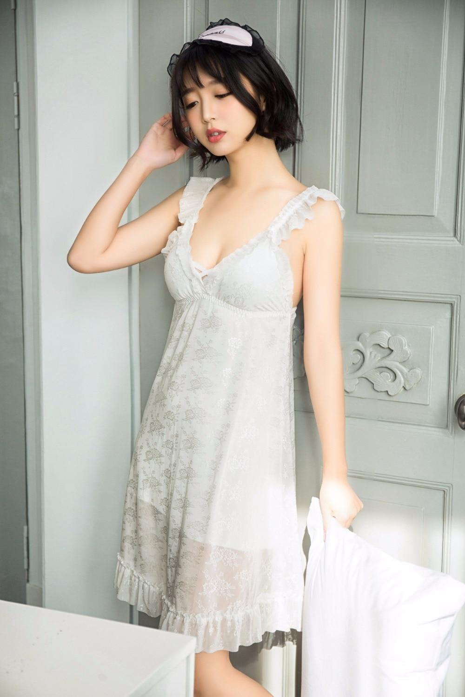 Sexy Nightgown Female Lace Dresses for Women 2018 Spring Summer Sleepwear Night Dress Plus Size Nightie Pink White Sleepshirts