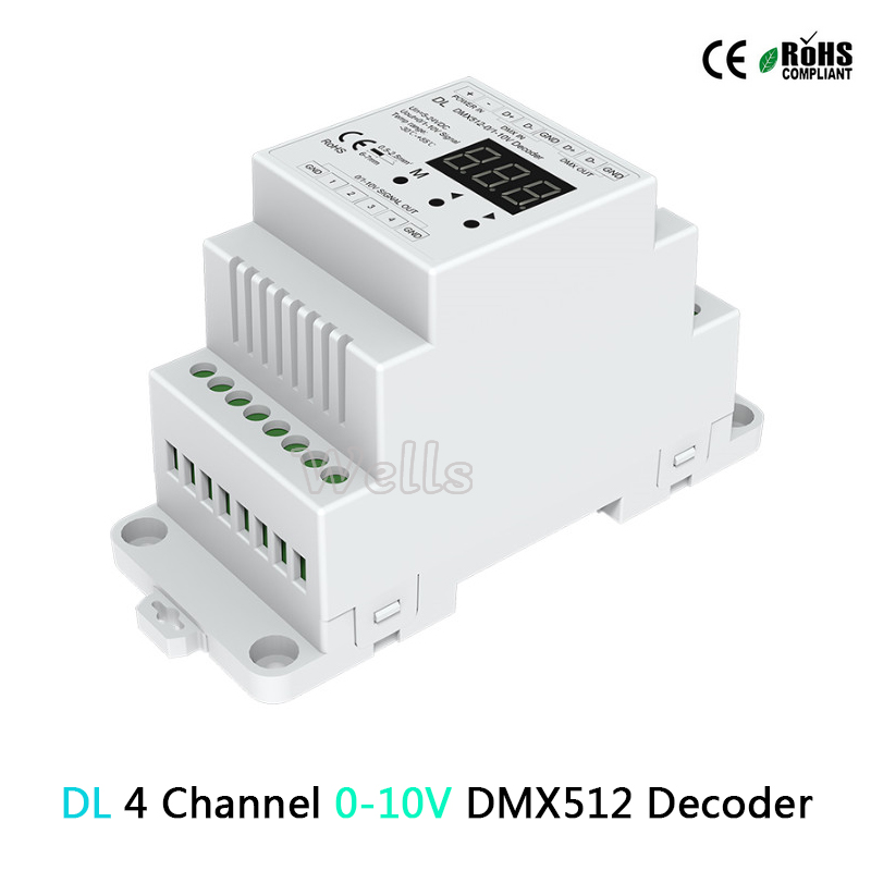 Image 2 - D4(CV )/DL( 0 10V) 4CH DMX512 decode;D4 RGB/RGBW Controller Din rail mounted 4 Channel led Dimming Controller-in RGB Controlers from Lights & Lighting