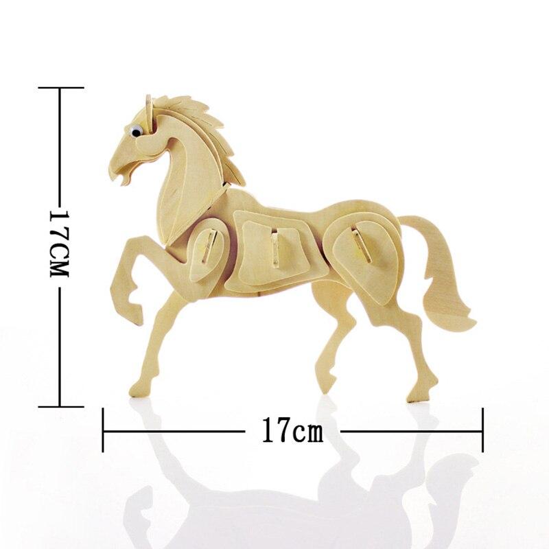 Детская деревянная DIY 3D белка/лошадь/бабочка/рыба/курица Паззлы игрушка Тренировки Мозга головоломки игра модель Аксессуары Животные