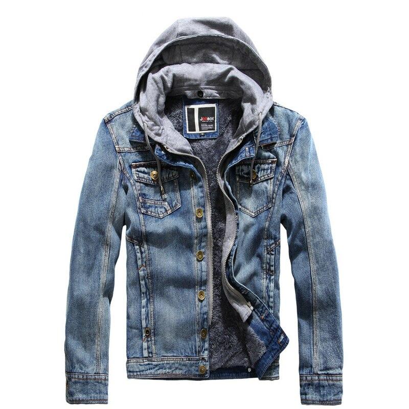 2019 neue Herbst Winter Denim Jacke Männer Mit Kapuze Casual Streetwear Warm herren Jeans Jacke Mantel-in Jacken aus Herrenbekleidung bei AliExpress - 11.11_Doppel-11Tag der Singles 1