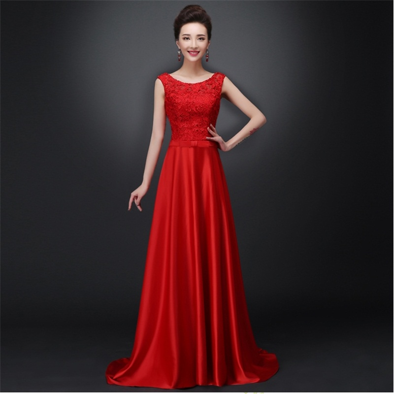 New Long Bridesmaid Dresses Glamorous Lace Satin Red White Bride Gown Ball Prom Party Homecoming/Graduation Formal Dress