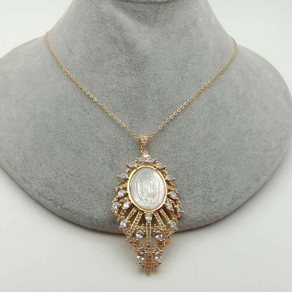 Virgin Mary Pendant necklace with mother Of pearl Cz pave Necklace