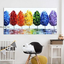 handpainted Wall Art Canvas Oil Painting Rainbow Tree Pictures landscape oil painting For Living Room Home Decor No Frame