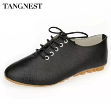 Tangnest Women's Ballet Flats PU Leather Black White Women Oxfords Shoes Autumn Casual Lace Up Flat Shoes For Woman XWD1673
