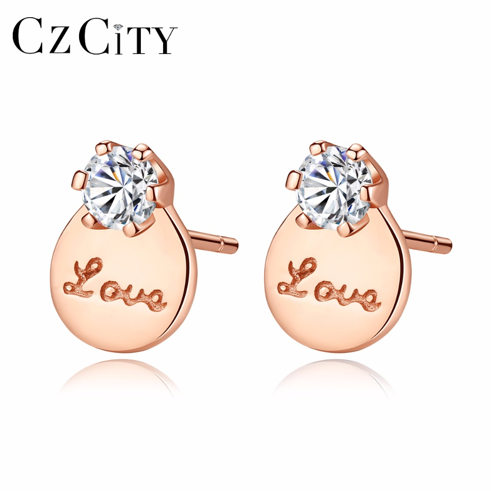 CZCITY New Hot 925 Sterling Silver Stud Earrings for Women Love Shape Special Sculpt  Earrings Brand Fine Jewelry Gift