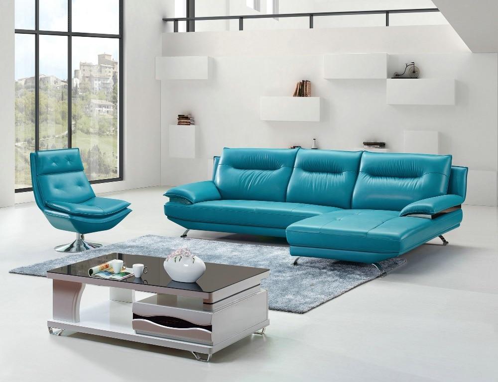 Artistic Modernism Favorable Sky Blue Color Leather Sofa Set
