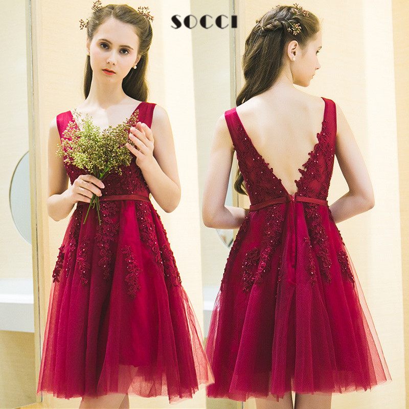 Elegant Wine Red V Neck Short Tulle Lace cocktail dresses ...