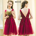 Elegant Wine Red V Neck Short Tulle Lace cocktail dresses 2016 V Back Beading girls Formal Wedding Party dress Custom made Gowns