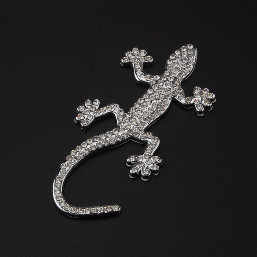 Inlay Crystal Gecko Lizard Quattero 3D Car Auto Motorcycle Logo Totem Emblem Badge Sticker Silver DIY Car Styling Accessories auto chrome camaro letters for 1968 1969 camaro emblem badge sticker
