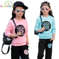 Children Clothing Sets For Girls Tracksuits Long Sleeve Letter T-Shirts & Pants 2Pcs Sportswear Cotton Sports Suits Outfits H002