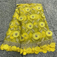 Latest african tull lace fabrics high quality 2018 yellow lace with 3D flower french lace fabric with beads and stones HJ170 1
