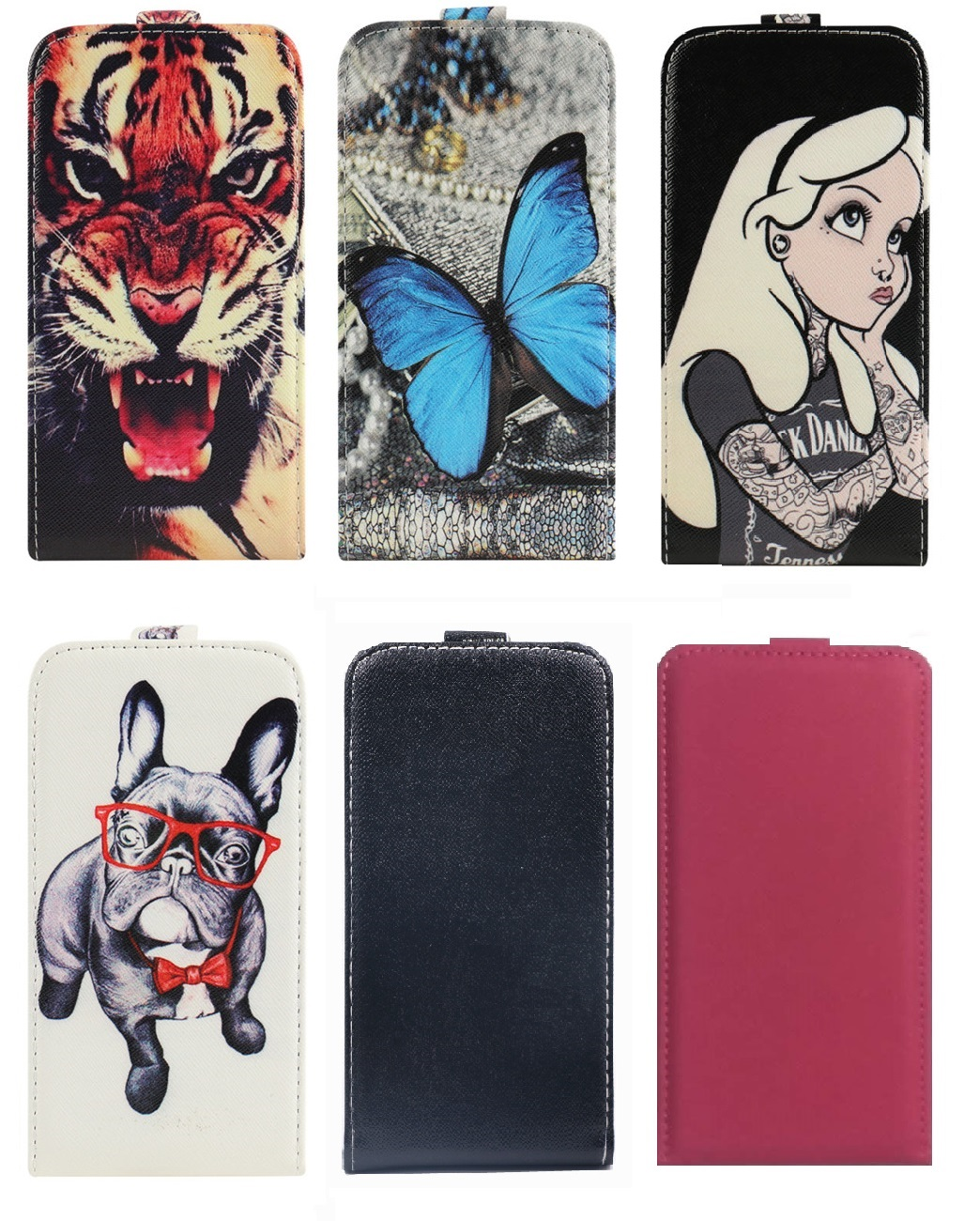 Yooyour Cartoon Gedrukt Up en Down PU Lederen Case Cover behuizing shell Voor Micromax Q334 Q338 Q392 Q383