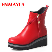 ENMAYLA New Wedges Ankle Boots Women Zipper Flats Platform Casual Shoes Woman Autumn Red Black White Short