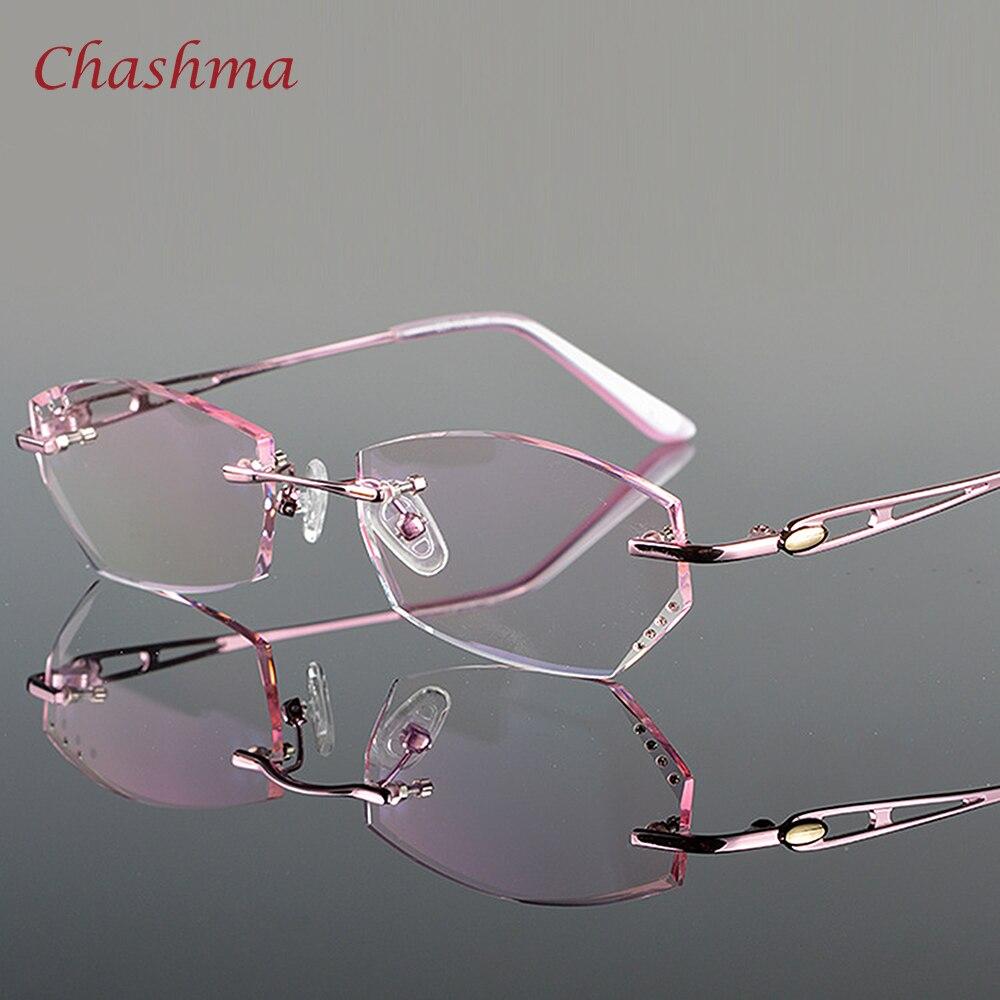 Chashma Tint Lentes Da Marca Mulheres Strass Moda Elegante Colorido Lente  Óculos Sem Aro Óculos Armações 8f1bed3b71