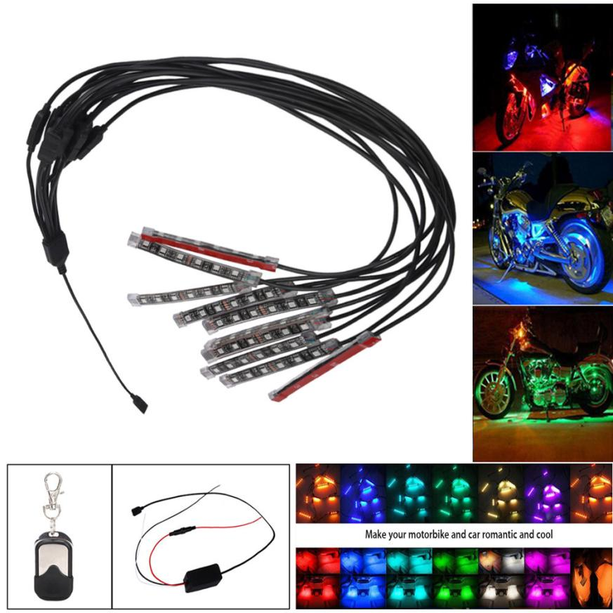 10PCS RGB LED Car Motorcycle Chopper Frame Glow Lights Flexible Neon Strips Kit Z825 5up free shipping car refitting dvd frame dvd panel dash kit fascia radio frame audio frame for 2012 kia k3 2din chinese ca1016