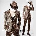 Estampado de Leopardo más el tamaño de La Moda Masculina Delgado Traje Amarillo exo prendas de Vestir Exteriores del Club Nocturno Cantante dj traje Stage show performance wear