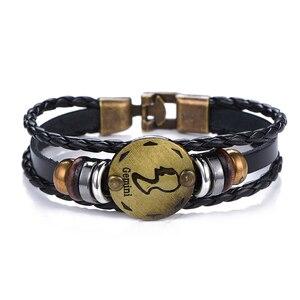 Подарок на день рождения, панк, Знак зодиака, Овен, браслет «Лев», созвездие, браслеты мужские, Дева с подвеской со знаком Рыб, для женщин, Прямая поставка
