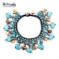Artilady natural turquoise tassel bracelet bangles fashion multicolor small bells bracelet for women boho jewelry