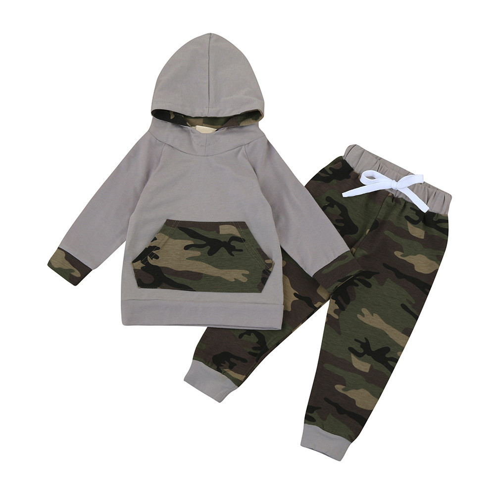 2018 new arrival spring baby clothes suit 2pcs Toddler Baby Boy Girl Clothes Set Camouflage Hoodie long sleeve Tops+Pants Outfit