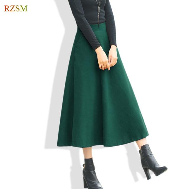 Winter Röcke Frauen 2018 Lange Elegante Gefaltete Röcke A-linie dicke Warme Wolle  Rock Frauen fcb261729f