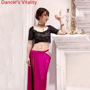 Image 3 - Oryantal oryantal dans uygulama elbise 2019 yeni dantel üst uzun etek 2 adet Set hint dans giymek acemi yarışması kostüm