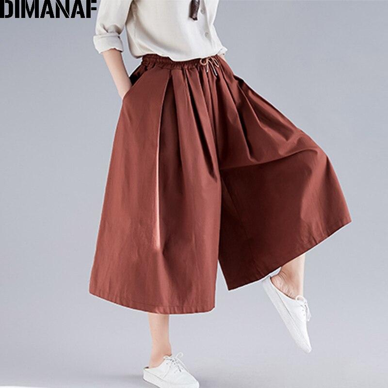 DIMANAF Plus Size Women   Wide     Leg     Pants   Summer Cotton Loose Big Size Pantalones Female Clothes Elastic Waist   Pants   Solid 2019 New