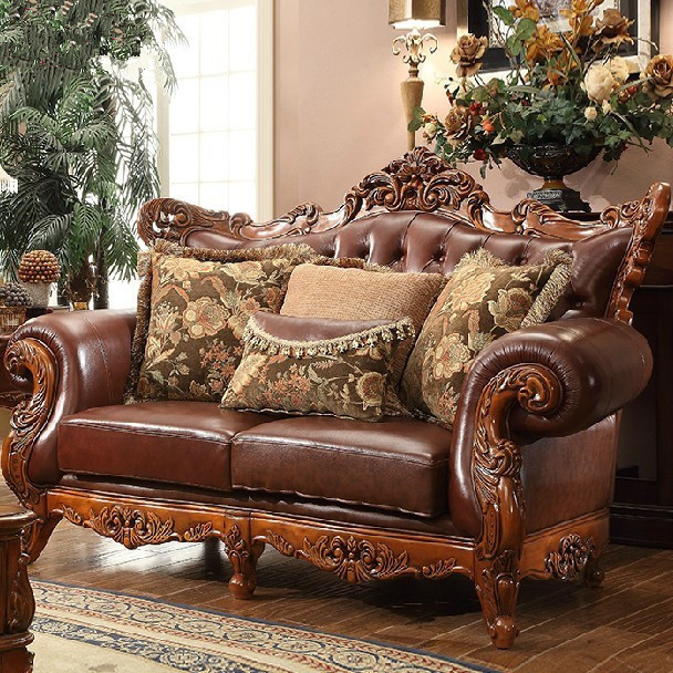 Beau High Grade European Style Cloth Art Oak Wood Sofa Genuine Leather Sofa For  Living Room