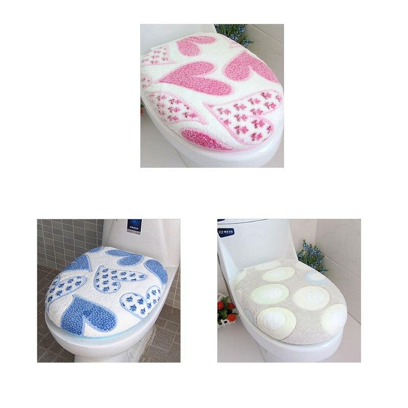 Verkoopbevordering 1 Set hartvormige Coral Fluwelen Toiletbril Cover ...