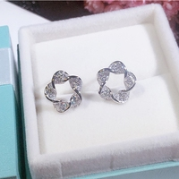 Genuine 925 Sterling Silver Fine Wedding Jewelry Unique Special Flowers Charm Stud Earrings For Women Gift