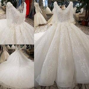 Image 2 - AIJINGYU Hochzeit Kleider China Shiny Weiß Neueste Stil Hochzeit Plus Größe Spitze Kappe Nova Kleid Brautkleid Online Verkauf