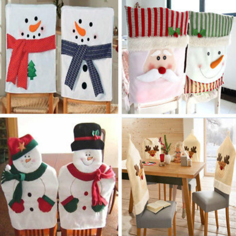 Christmas Party Seat Chair Covers Cases Dinner Table Santa Hat Home Decor Ornaments Gifts Xmas Decorative