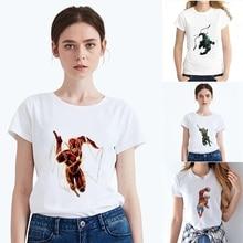 Plus Size Summer DC Cartoon Justice League Pattern Modal Womens O-neck Short Sleeve Leisure fashion Cotton White T-Shirt