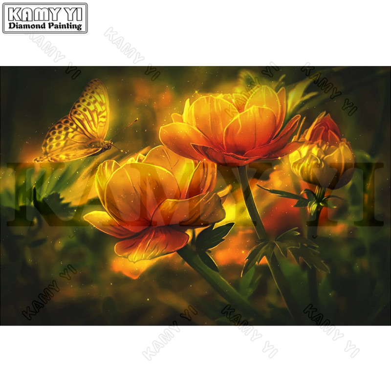 3D Rhinestone Painting Crystal Home Decor DIY Diamond Painting Golden Flowers Butterfly Cross Stitch Pattern Diamond Embroidery