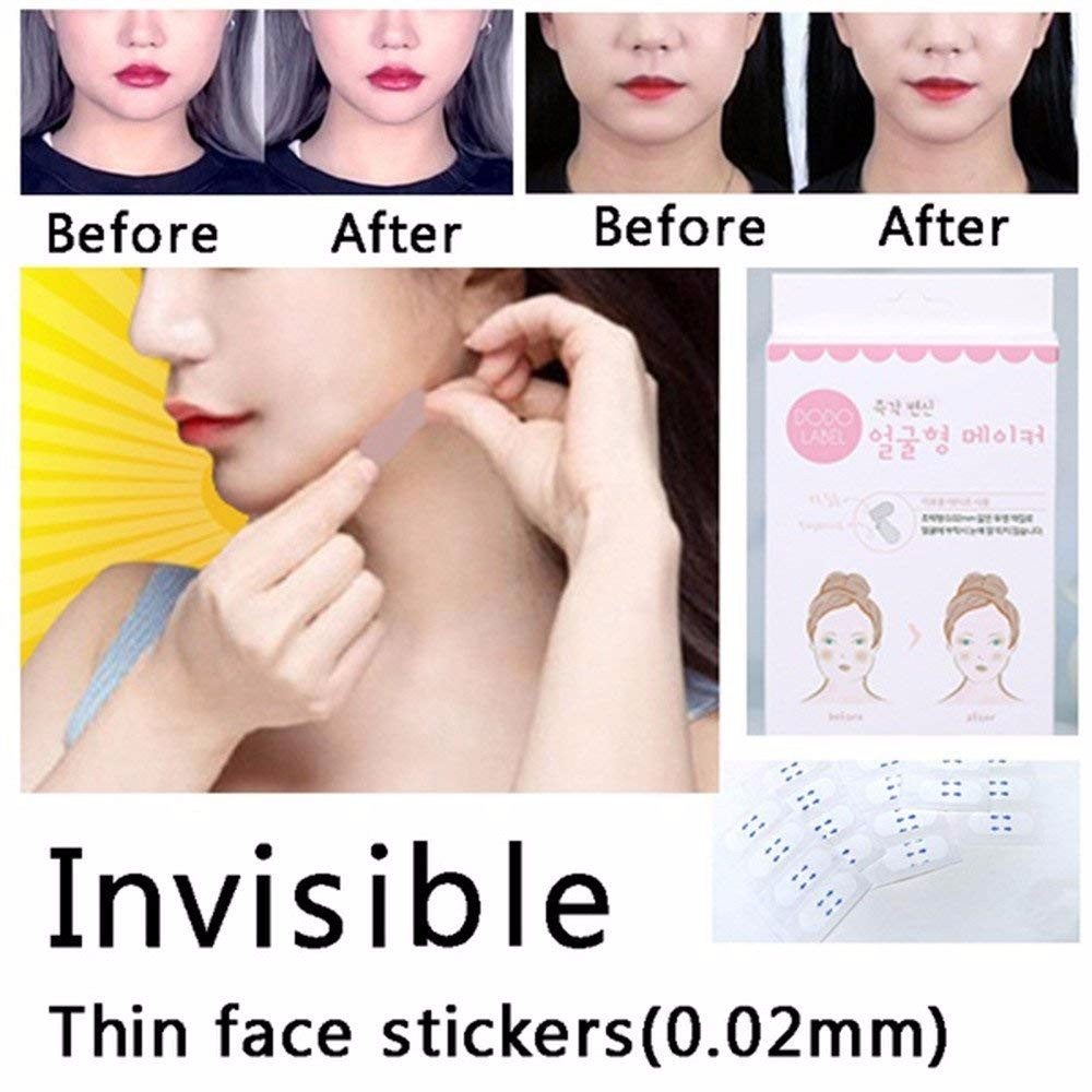 40 Pcs V-Shape Face Lift Tape Label Adhesive Makeup Fast Chin Face Lift Up Beauty Tools V Line Face Tape Wholesale