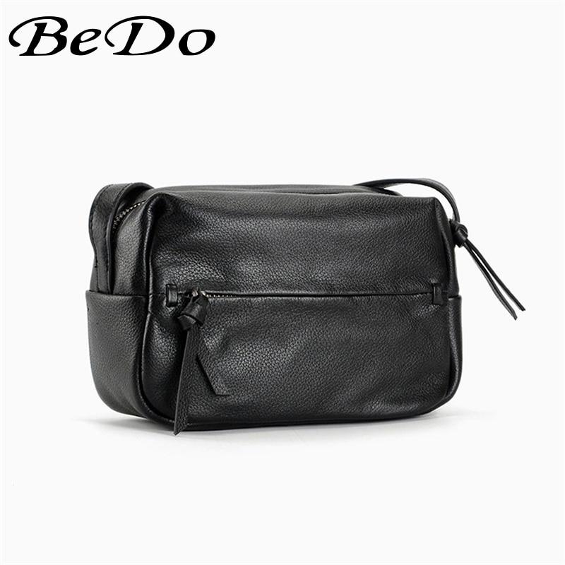 BeDo Genuine Leather Fashion Messenger Bags Real Leather Shoulder Messenger Bag Black Simple Fashion Women Flap Bag цена
