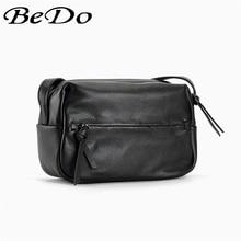 BeDo Genuine Leather Fashion Messenger Bags Real Shoulder Bag Black Simple Women Flap