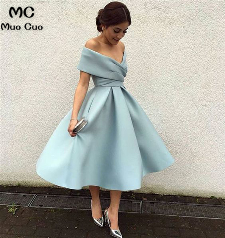 Ball Gown 2019 Ready Off Shoulder Graduation Homecoming Dresses With Pleat Evening Dress Homecoming Cocktail Party Dress Short
