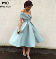 Ball Gown 2019 Ready Ship Short Off Shoulder Graduation Homecoming Dresses with Pleat Homecoming Cocktail Party Dress Short