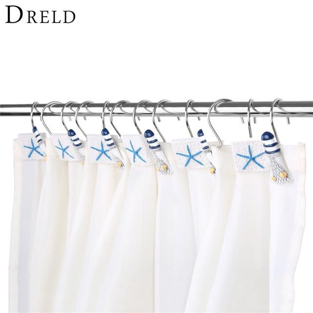 DRELD 12Pcs Set Shower Curtain Hook Drapery Valance Hanger Home Cafe Hotel Decor Hooks