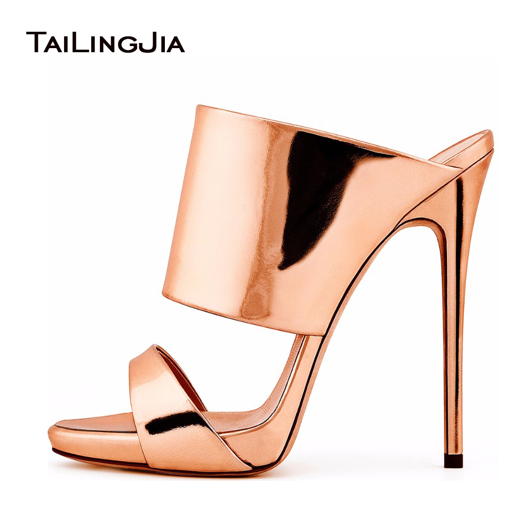 women high heel sandals 2017 metallic rose gold patent leather mule